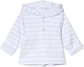 Absorba White and Pale Blue Reversible Spot and Stripe Hooded Jacket