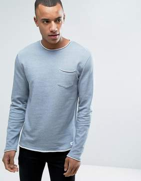 Esprit Crew Neck Sweatshirt with Raw Edges and Chest Pocket