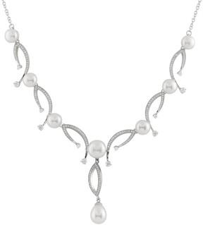 Bella Pearl Y Shaped Fancy Sterling Silver Pearl Necklace