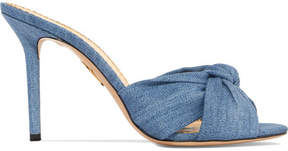 Charlotte Olympia Lola Knotted Denim Mules - Light denim
