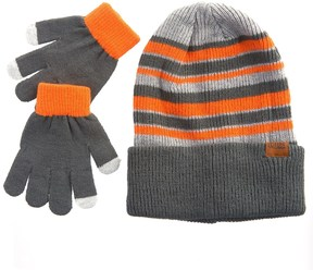 iXtreme Striped Beanie and Gloves Set (For Toddler Boys)
