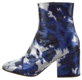 Dries Van Noten Embossed Leather Ankle Boots w/ Tags