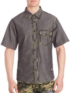 PRPS Came Trimmed Woven Denim Shirt