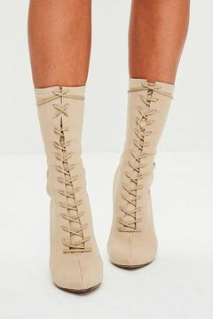 Missguided Nude Corset Lace Up Pointed Boots