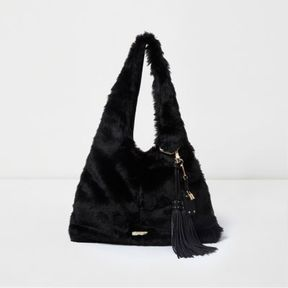 River Island Womens Black faux fur oversized slouch bag