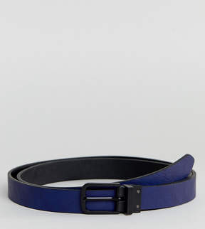 Asos DESIGN Plus Smart Skinny Reversible Belt In Black And Navy Faux Leather