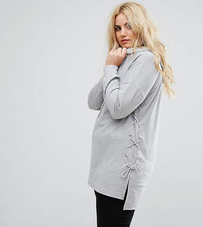 Alice & You Longline Step Hem Hoodie With Lace Up Sides