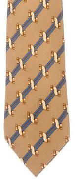 Hermes Striped Horse Print Silk Tie