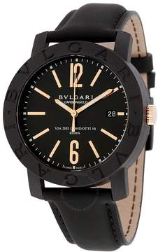 Bvlgari Automatic Black Dial Black Leather Men's Watch