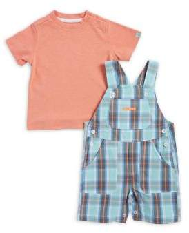 Calvin Klein Jeans Baby Boy's Two-Piece Tee and Cotton Shortall Set