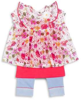 Little Lass Little Girl's Three-Piece Floral Lace Top, Tank Top, and Capri Leggings Set