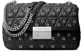 Michael Kors Sloan Grommet Leather Shoulder Bag - BLACK - STYLE
