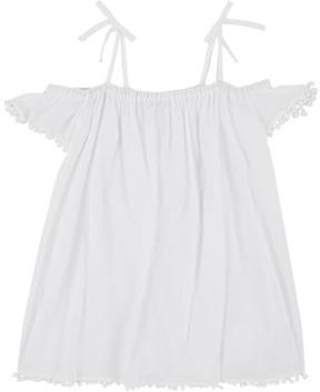 Milly POM-POM-TRIMMED COTTON COVER-UP DRESS