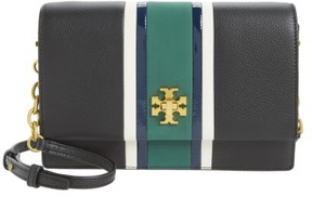 Tory Burch Georgia Stripe Leather Shoulder Bag - Black - BLACK - STYLE