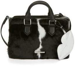 KENDALL + KYLIE LIps Keychain Faux Fur Satchel