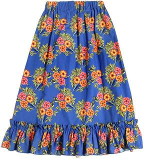 MSGM Floral Printed Cotton Poplin Long Skirt