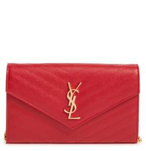 Women's Saint Laurent 'Large Monogram' Quilted Leather Wallet On A Chain - Red