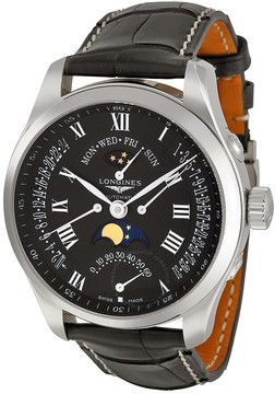 Longines Master Collection Multi-Function Black Dial Black Leather Men's Watch L27394517