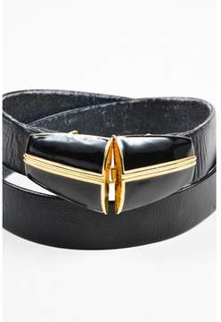 St. John Pre-owned Vintage Black/gold Leather Belt.