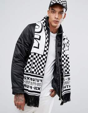 Asos Knitted Soccer Scarf In Black & White Checkerboard