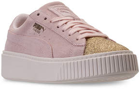 Puma Big Girls' Suede Platform Glam Casual Sneakers from Finish Line
