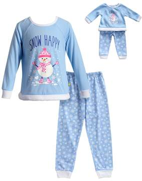 Dollie & Me Girls 4-14 Snowman Top & Snowflake Bottoms Pajama Set