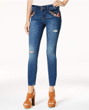 Dollhouse Juniors' Embroidered Ripped Skinny Jeans