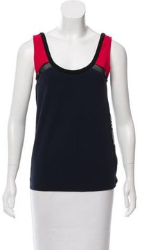 Cynthia Rowley Sleeveless Mesh-Accented Top