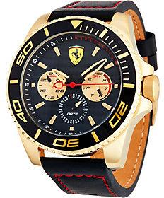 Ferrari Men's Black Leather Strap Multi-Function XX Ker Watch