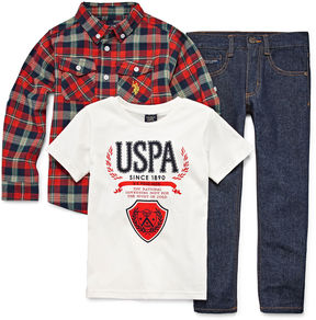 U.S. Polo Assn. 3-pc. Plaid Pant Set Boys