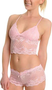 Angelina Diamond Pink Lace Wireless Cami Bra & Boyshorts - Women