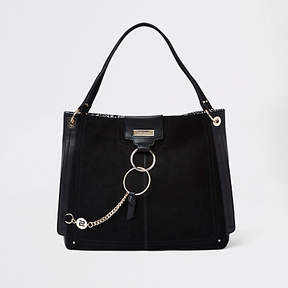 River Island Black oversized ring front slouch bag
