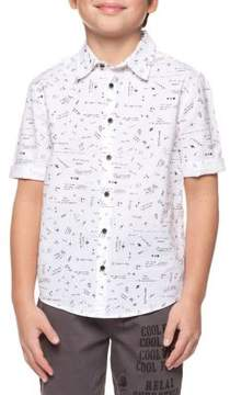 Dex Boy's Printed Cotton Collared Shirt