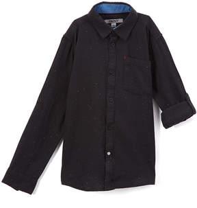 DKNY Black Fleck Button-Up - Boys