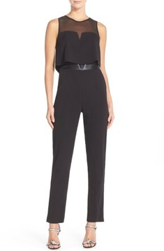 Adelyn Rae Women's Popover Mixed Media Jumpsuit