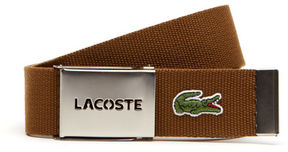 Lacoste Men's Textile Signature Croc Logo Belt