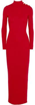 Balmain Embellished Ribbed Merino Wool Maxi Dress - Red