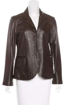 Amanda Uprichard Leather Notched-Lapel Blazer