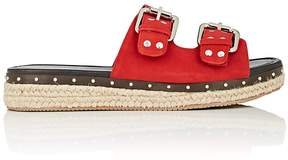 Barneys New York WOMEN'S STUDDED SUEDE ESPADRILLE SLIDE SANDALS
