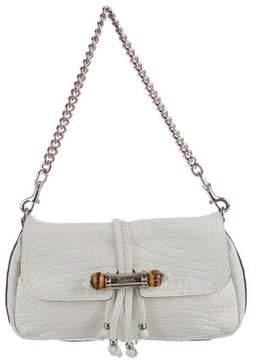 Gucci Crocodile Croisette Evening Bag - WHITE - STYLE