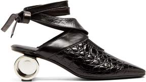 J.W.Anderson Cylinder-heel crocodile-effect leather mules