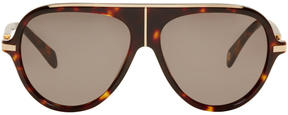 Balmain Tortoiseshell and Gold Aviator Sunglasses