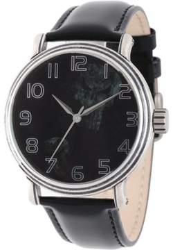 Marvel Classic Punisher Men's' Antique Silver Alloy Vintage Watch, Black Leather Strap