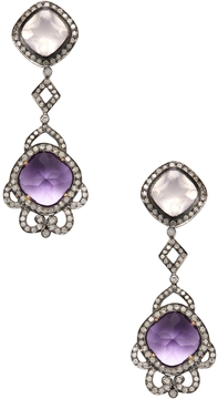 Artisan Women's 18K Gold, Rose Quartz, Amethyst & 2.13 Total Ct. Diamond Drop Earrings