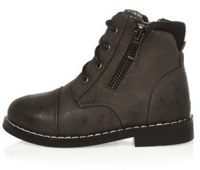 River Island Mini boys grey work boots