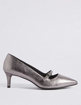 Marks and Spencer Wide Fit Kitten Heel Bar Court Shoes