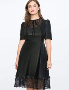 ELOQUII Faux Leather Dress with Lasercut Bib Front