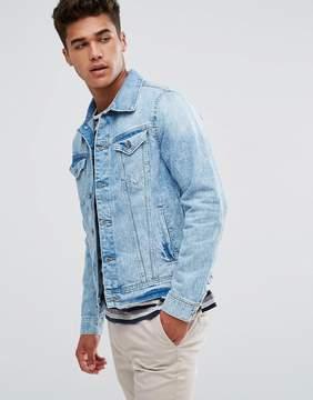 Esprit Denim Jacket In Washed Blue Denim