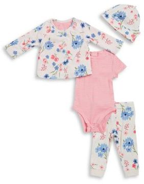 Offspring Baby Girl's Four-Piece Printed Cotton Reversible Cardigan, Bodysuit, Pants & Hat Set