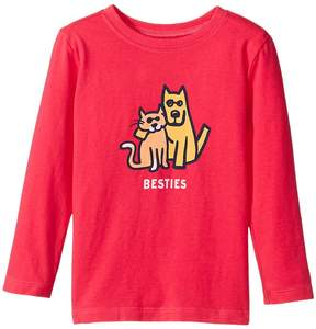 Life is Good Besties Cat And Dog Long Sleeve Crusher Tee Girl's T Shirt